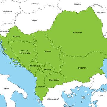 Balkan in grün (beschriftet)