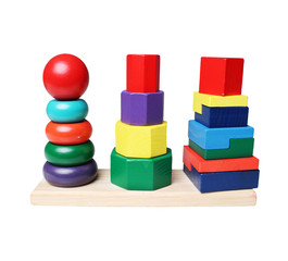 Wooden pyramid stacking rings toy