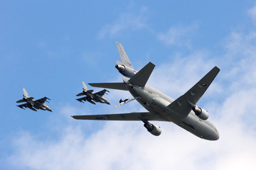Fighter jets and tanker plane