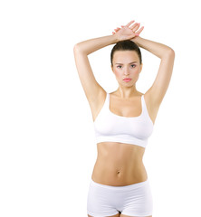 Beautiful woman holding hands up, epilation and spa concept