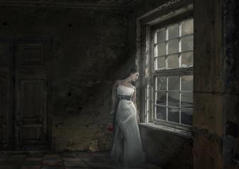 Einsame Frau mit Rose am Fenster