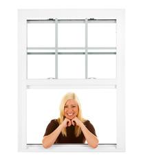 Window: Pretty Woman Leans On Elbows In Window