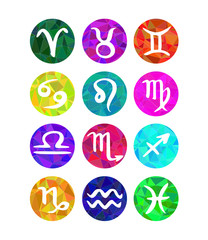 Trendy colorful polygon style set of zodiac horoscope signs.