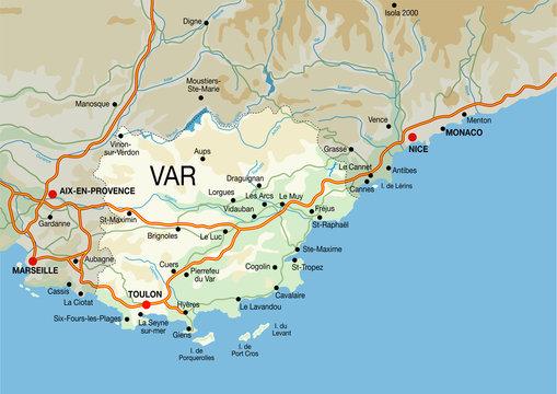 carte du var et de la côte d'azur