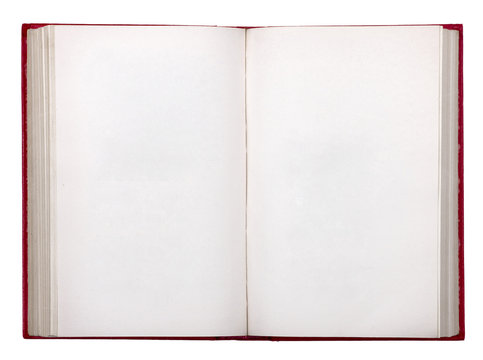 old open book on white background isolation