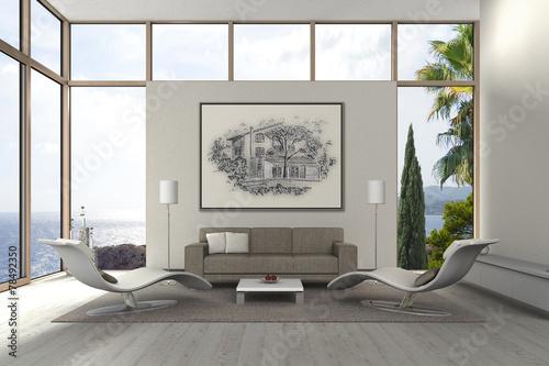 mediterranes modernes wohnzimmer am meer stockfotos und. Black Bedroom Furniture Sets. Home Design Ideas