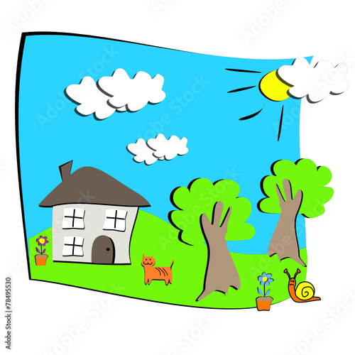 Dessin d 39 enfant maison nature fichier vectoriel libre de droi - Dessin maison enfant ...