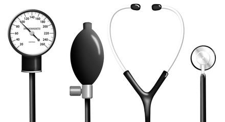 Illustration of stethoscope and sphygmomanometer isolated
