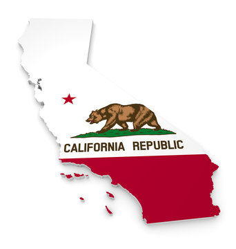 3D geographic outline map of California with the state flag
