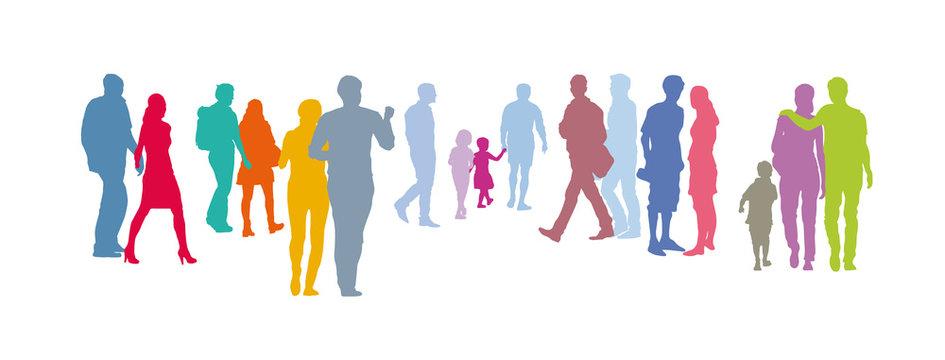 Gruppe von Menschen, Menschengruppe - Paare in Pastellfarben, bunte Silhouette, Vektor Set isoliert, gemeinsam das Leben in der Gesellschaft gestalten, Stay together