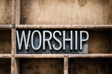 Worship Vintage Letterpress Type in Drawer