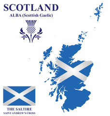 Flag and national emblem of Scotland