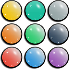 Set of colorful spherical glossy buttons