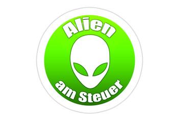 Alien am Steuer / Autoaufkleber