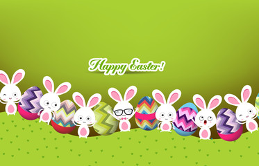 easter eggs and bunny background