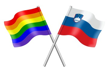 Flags: rainbow and Slovenia
