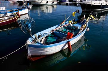 Barca piccola, gozzo, bianco e blu