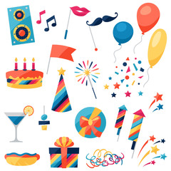 Celebration set of party icons and objects.