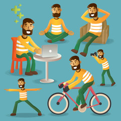 Lifestyle concept everyday life character set vector illustratio