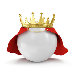 White Ball with GolCrown and Raincoat