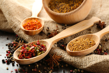 Foto auf Acrylglas Gewürze 2 Different kinds of spices on wooden background