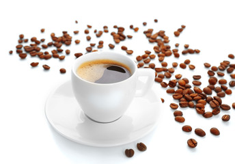 Cup of coffee on white table