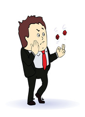 businessman playing in two red dice, concept illustration