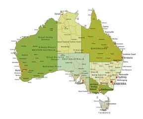 Highly detailed editable political map. Australia.
