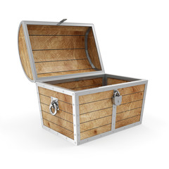 Empty Treasure Chest isolated on white background