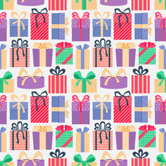 Seamless pattern with gifts.