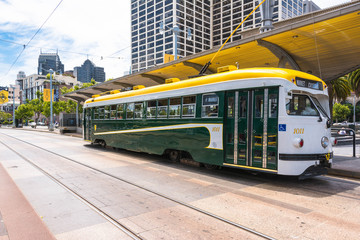 The green white yellow tram in San Francisco