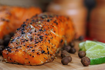 Pepper crusted smoked salmon
