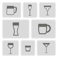 set of monochrome icons with different containers for drinks