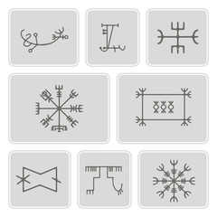 set of monochrome icons with mascots of Scandinavian warriors