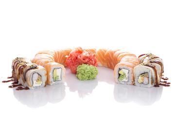 Sushi set isolated on white bakcground