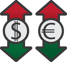 Usd and eur with colored up and down arrows
