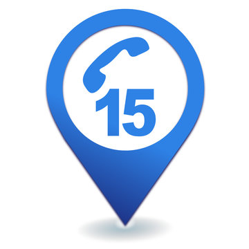 numéro d'urgence 15 samu france symbole localisation bleu