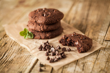 Fototapeten Kekse Double chocolate chip cookies