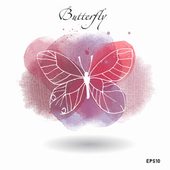 Watercolor vector butterfly background