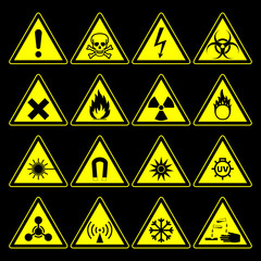 hazard symbols and signs collection