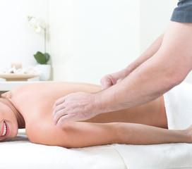 Massage on a woman at spa salon