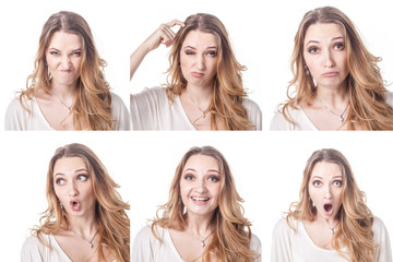 Collage of woman different facial expressions