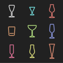 vector neon light sign colors alcohol glasses set