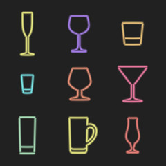 vector neon light sign  color alcohol glasses icons