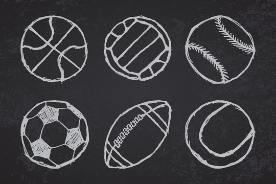Ball sketch set simple outlined on blackboard