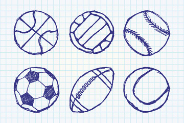 Ball sketch set simple outlined isolated on paper notebook