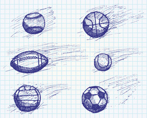 Ball sketch set with shadow and dynamic effect on paper notebook