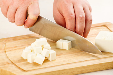 cutting the cheese feta