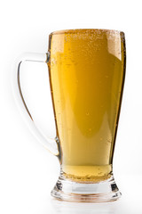full glass of beer isolated on white with a foam