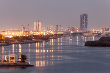 Wall Mural - Ras Al Khaimah creek at dusk, United Arab Emirates